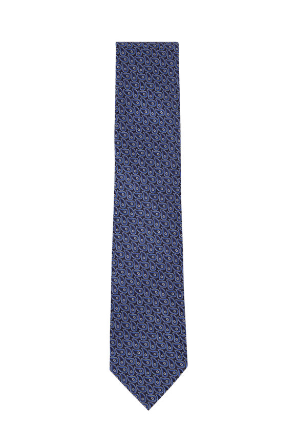 Ermenegildo Zegna Black & Navy Paisley Silk Necktie