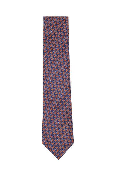 Ermenegildo Zegna - Orange & Navy Paisley Silk Necktie