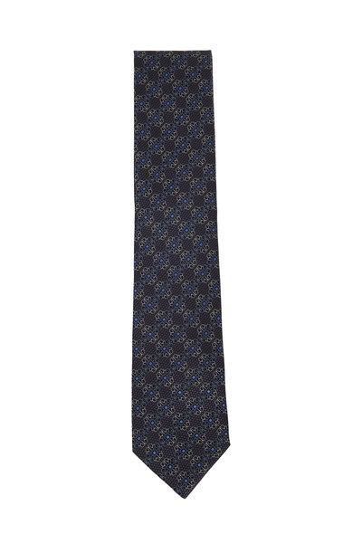 Ermenegildo Zegna - Black & Blue Flowers Silk Necktie