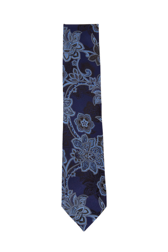 Ermenegildo Zegna Navy & Black Flowers Silk Necktie