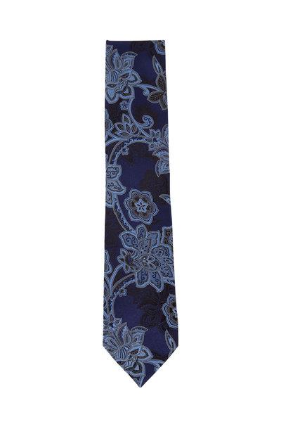 Ermenegildo Zegna - Navy & Black Flowers Silk Necktie