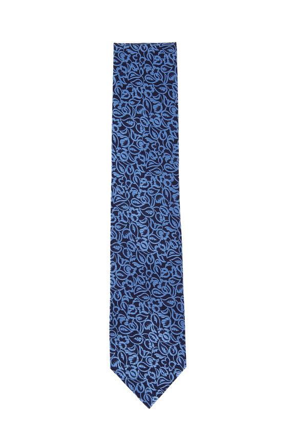 Ermenegildo Zegna Black & Blue Paisley Silk Necktie