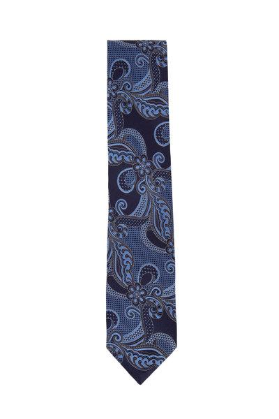 Ermenegildo Zegna - Navy & Black Large Paisley Silk Necktie