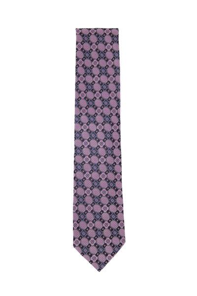 Ermenegildo Zegna - Pink & Black Flowers Silk Necktie
