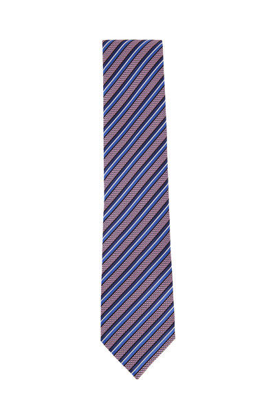 Ermenegildo Zegna - Pink & Blue Diagonal Striped Silk Necktie