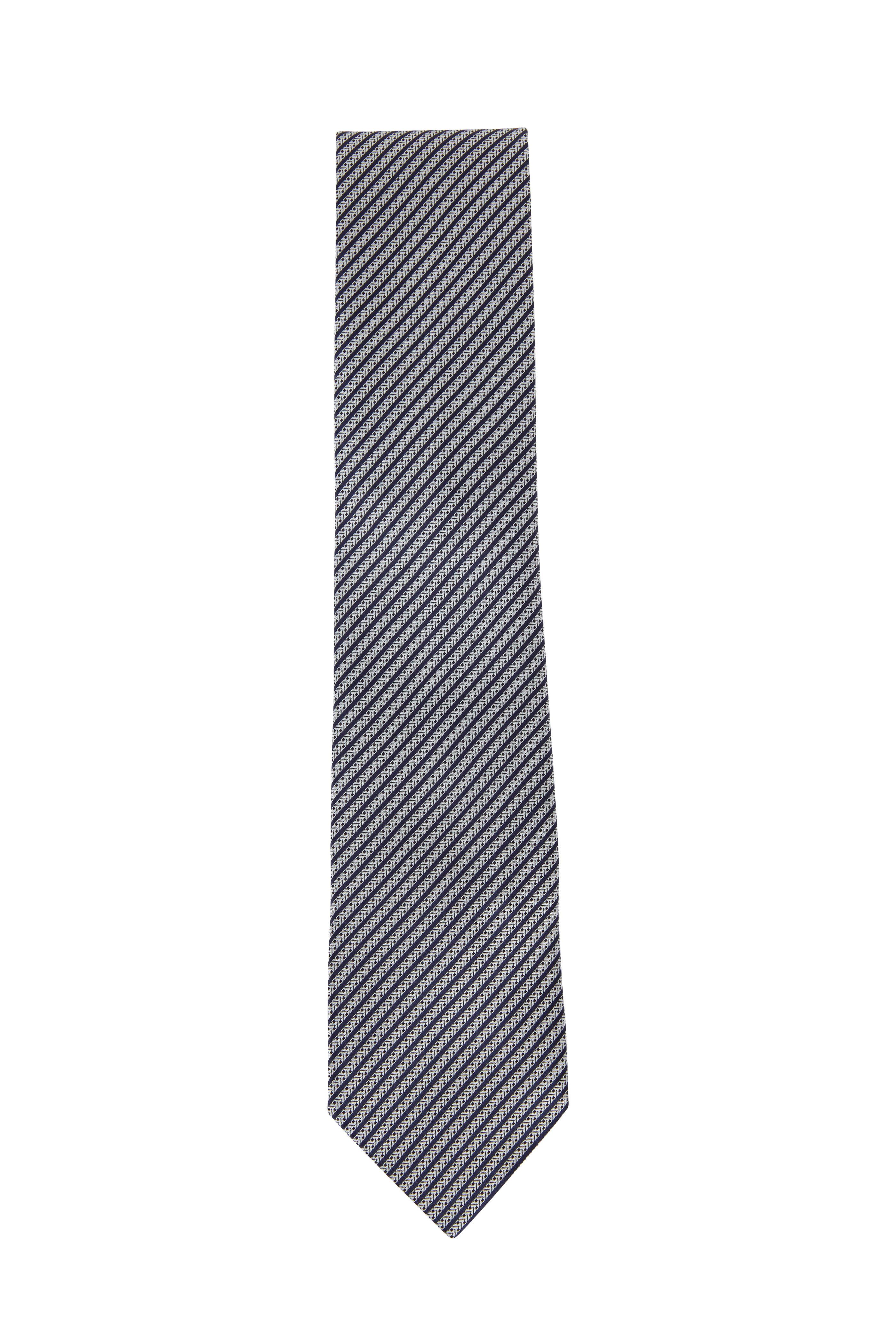 d3e8a0ad70 Ermenegildo Zegna - Silver & Black Skinny Striped Silk Necktie ...