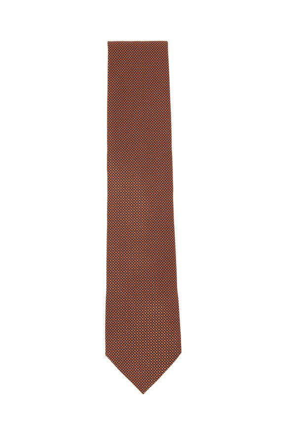 Ermenegildo Zegna Orange & Black Small Check Silk Necktie
