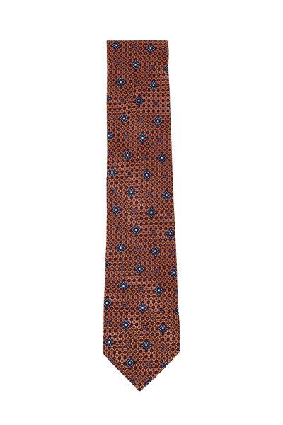 Ermenegildo Zegna - Orange & Blue Flowers Silk Necktie