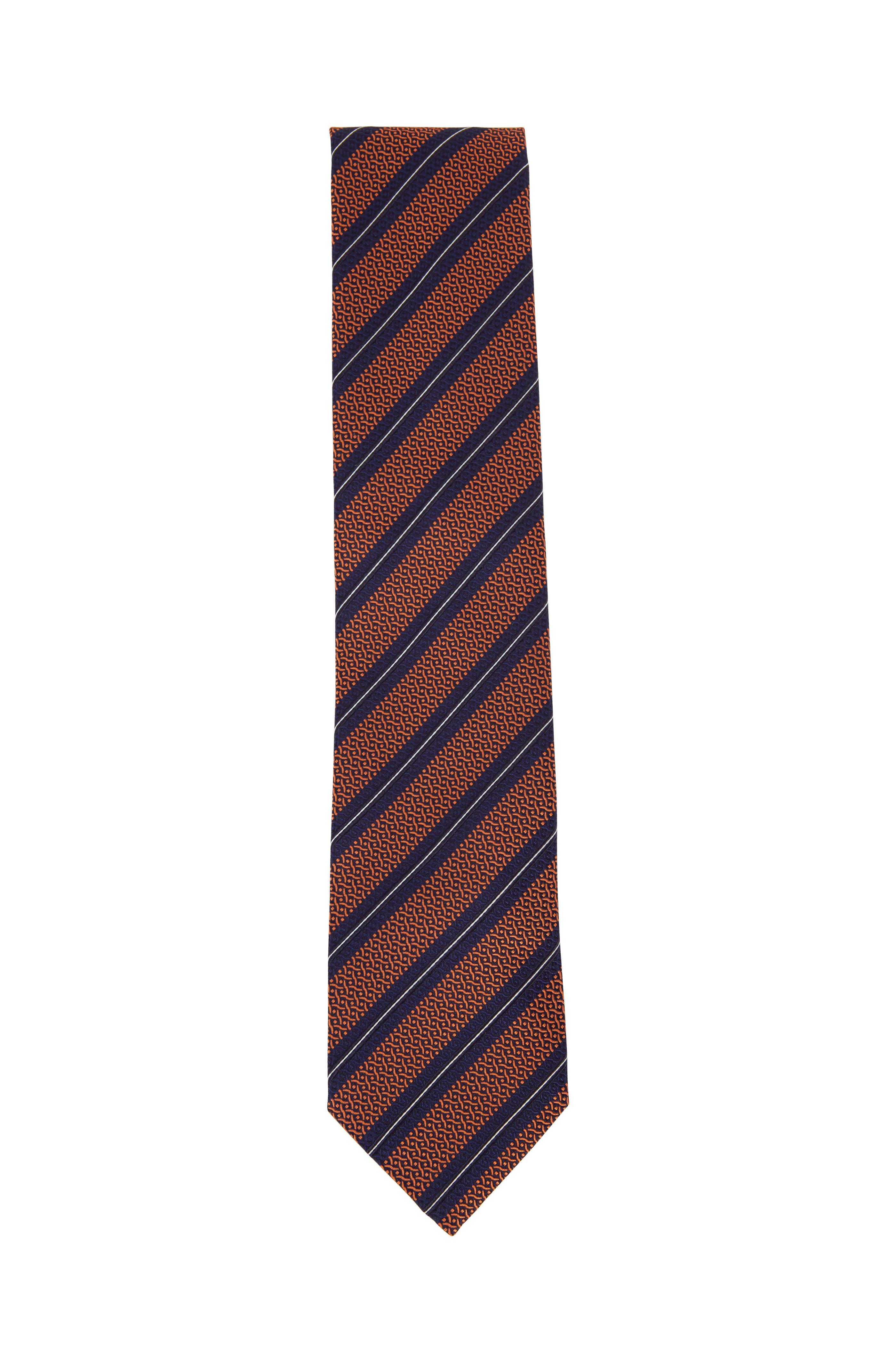 9d08ac71 Ermenegildo Zegna - Orange & Navy Diagonal Striped Silk Necktie ...