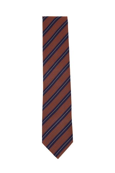Ermenegildo Zegna - Orange & Navy Diagonal Striped Silk Necktie