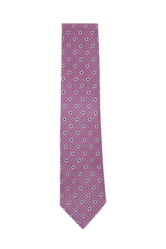 Ermenegildo Zegna Pink & White Flowers Silk Necktie