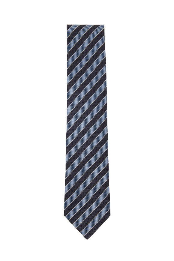 Ermenegildo Zegna Gray & Blue Diagonal Striped Silk Necktie