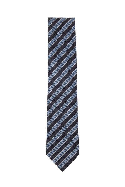 Ermenegildo Zegna - Gray & Blue Diagonal Striped Silk Necktie