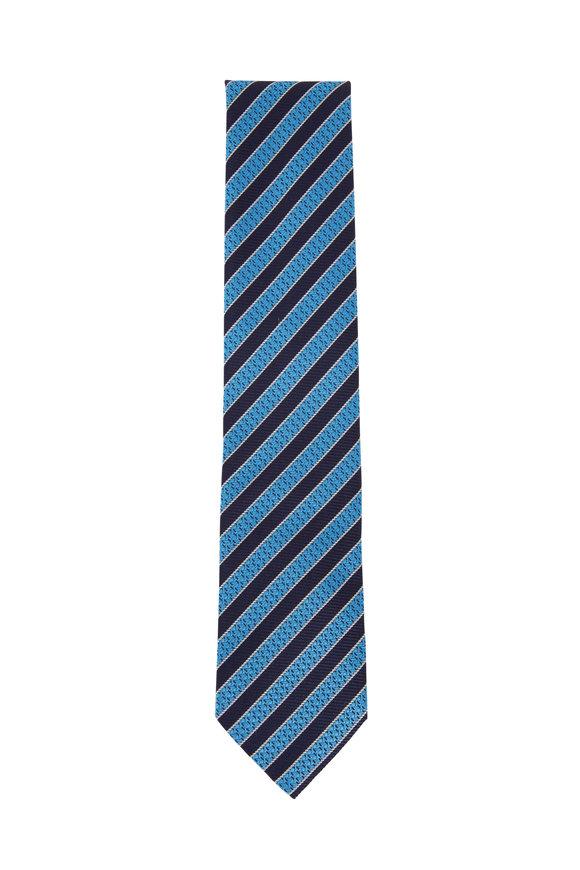 Ermenegildo Zegna Blue & Navy Diagonal Striped Silk Necktie
