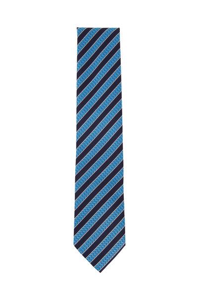 Ermenegildo Zegna - Blue & Navy Diagonal Striped Silk Necktie