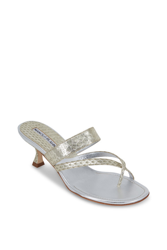 Manolo Blahnik Susa Silver Watersnake Thong Sandal, 50mm