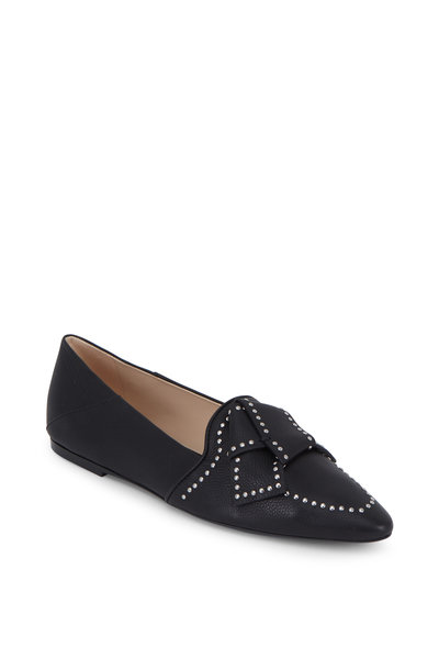 Tod's - Black Leather Studded Bow Flat