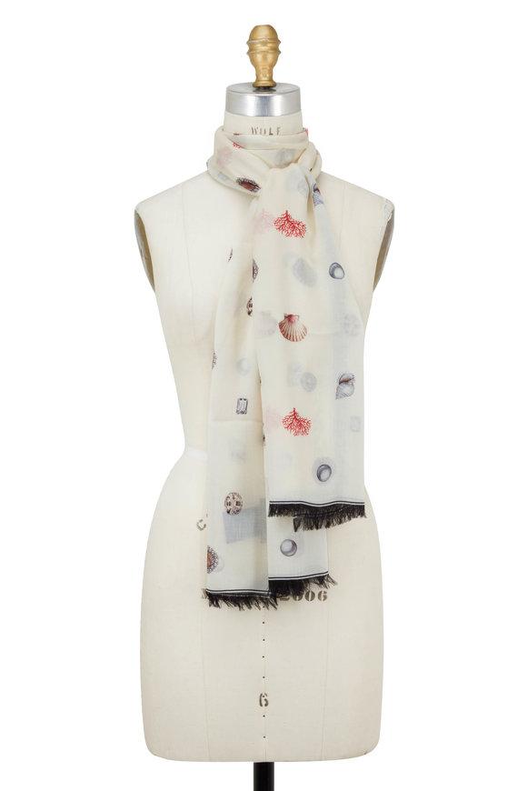 Alexander McQueen Ivory & Black Jewel & Coral Printed Scarf