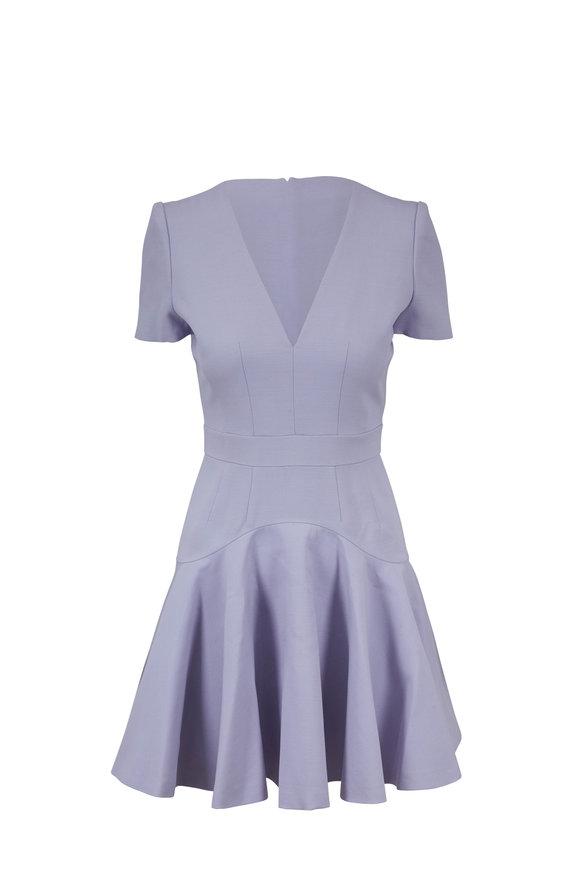 Alexander McQueen Lilac Fluted Hem V-Neck Mini Dress