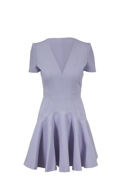 Alexander McQueen - Lilac Fluted Hem V-Neck Mini Dress