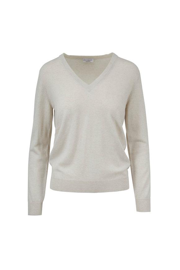 Brunello Cucinelli Buttermilk Cashmere V-Neck Sweater