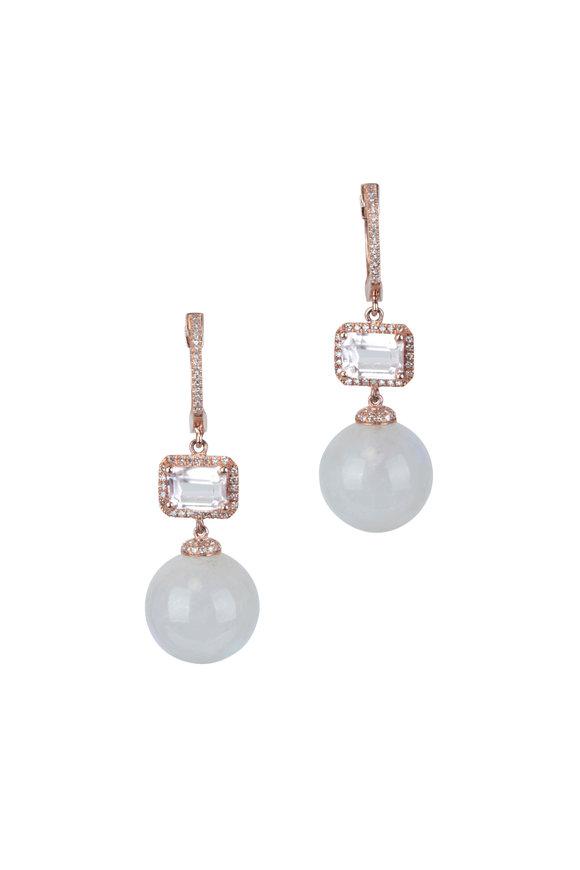 Kai Linz Rose Gold Moonstone, Morganite & Diamond Earrings