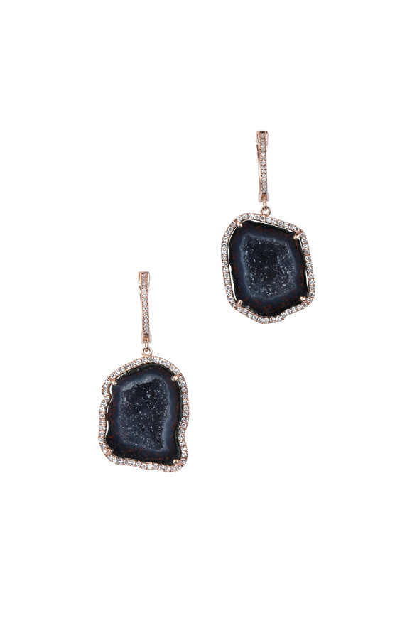 Kai Linz Rose Gold Black Geode Drop Earrings