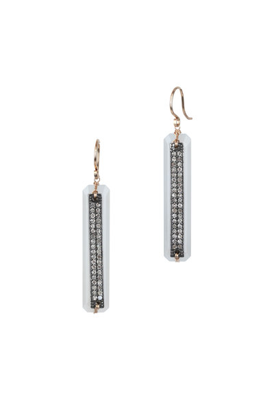 Dana Kellin - 14K Gold Diamond & White Moonstone Earrings