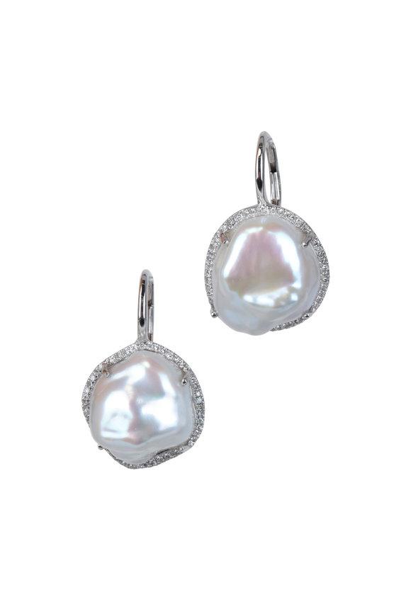 Kai Linz 14K White Gold Pavé & Pearl Drop Earrings