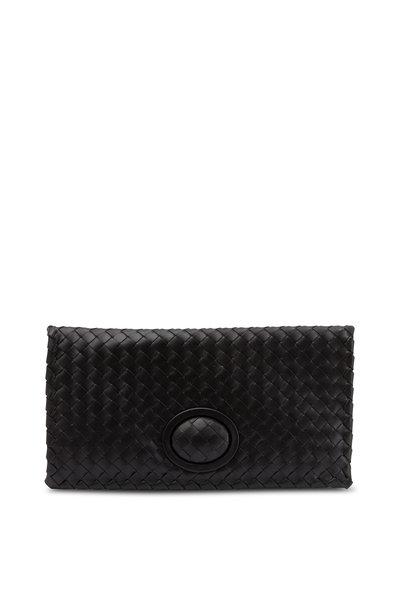 Bottega Veneta - Black Intrecciato Leather Foldover Clutch