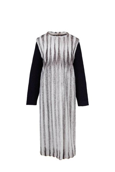 Oscar de la Renta Furs - Black Cross Mink & Cashmere Sleeves Long Coat