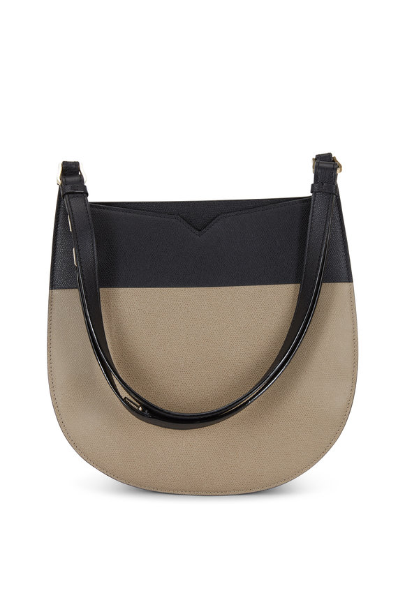 Valextra Weekend Grande Black & Taupe Leather Hobo Bag