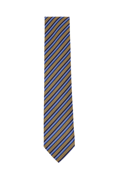 Ermenegildo Zegna - Gold & Blue Diagonal Striped Silk Necktie