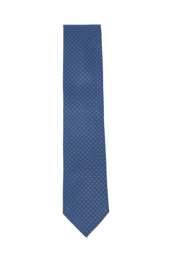 Ermenegildo Zegna Black & Black Circles Silk Necktie
