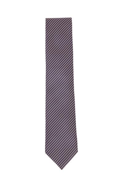 Ermenegildo Zegna - Pink & Black Skinny Striped Silk Necktie