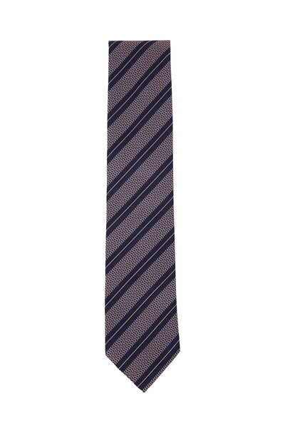 Ermenegildo Zegna - Pink, Navy & Black Diagonal Striped Silk Necktie
