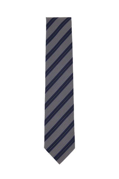 Ermenegildo Zegna - Silver & Blue Diagonal Striped Silk Necktie