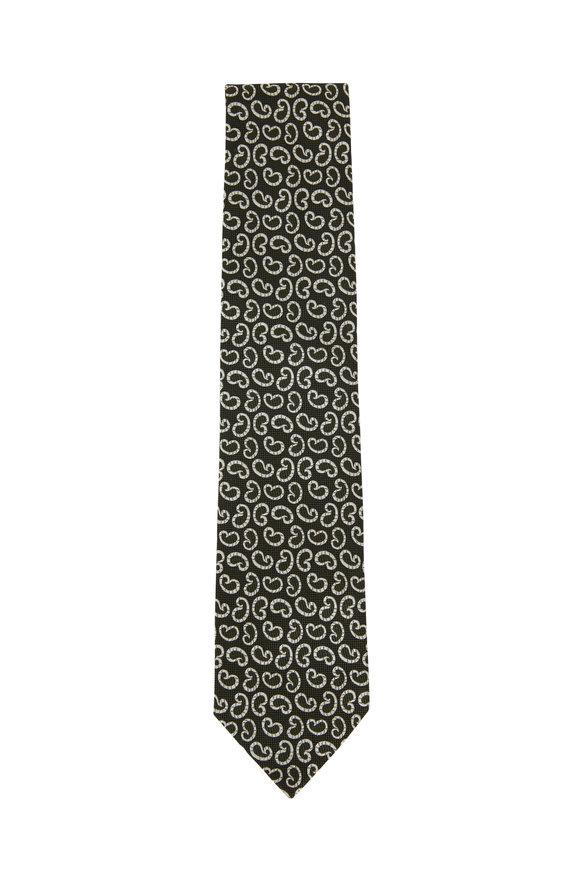 Ermenegildo Zegna Green & White Paisley Silk Necktie