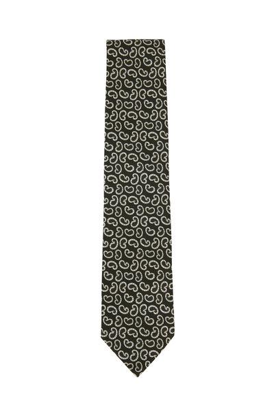 Ermenegildo Zegna - Green & White Paisley Silk Necktie