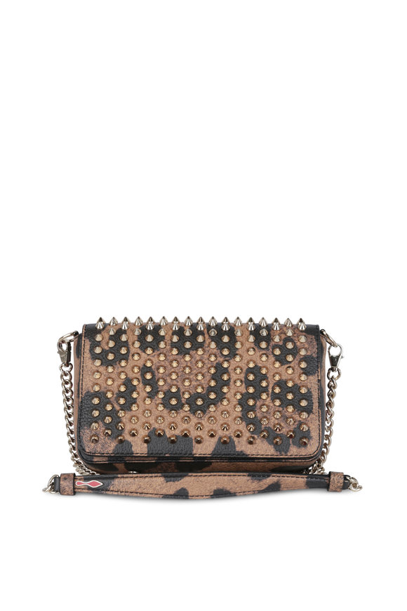 Christian Louboutin Zoom Leopard Leather Studded Small Crossbody Bag