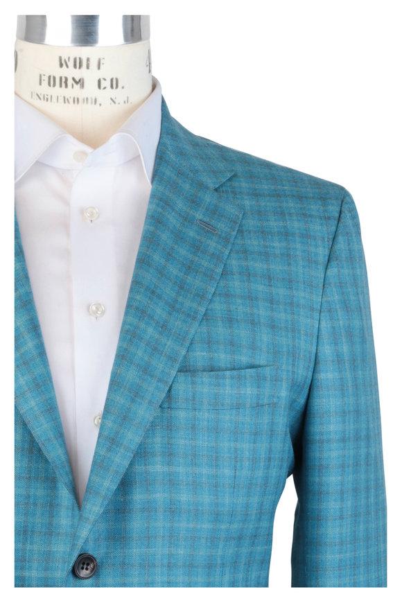 Kiton Aqua Check Cashmere, Silk & Linen Sportcoat
