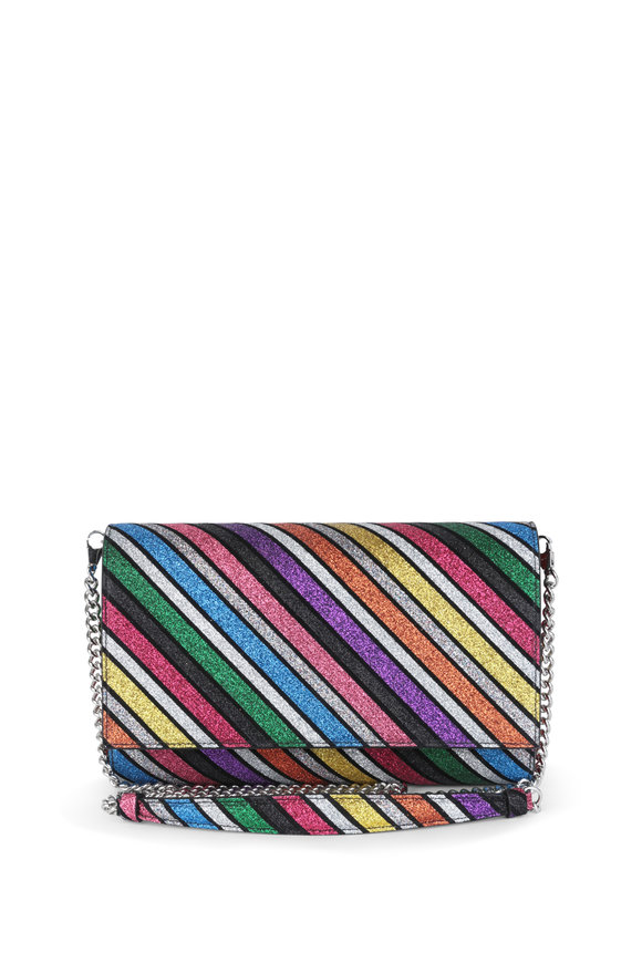 Christian Louboutin Paloma Multicolor Striped Glitter Clutch