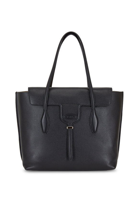 Tod's New Joy Black Leather Medium Tote Bag