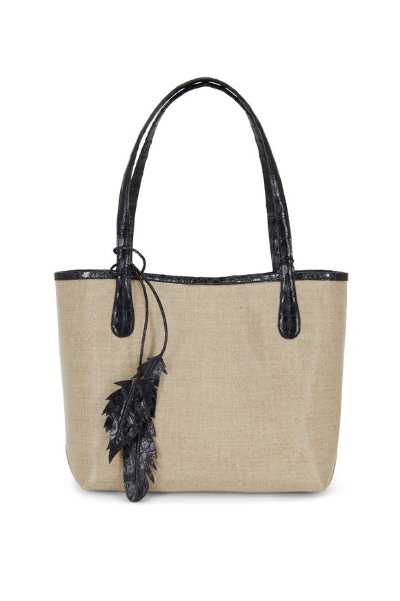 Nancy Gonzalez Erica Natural Coated Linen Crocodile Trim Tote