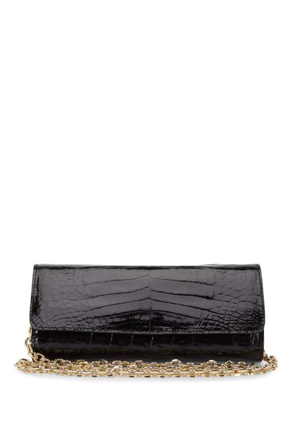 Judith Leiber Kate Black Crocodile Chain Clutch