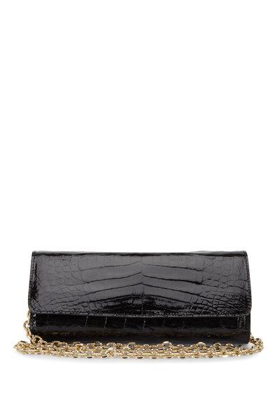Judith Leiber Couture - Kate Black Crocodile Chain Clutch