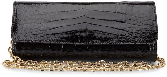 Judith Leiber Couture Kate Black Crocodile Chain Clutch