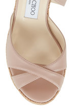 Jimmy Choo - Alanah Ballet Pink Leather Wedge Sandal, 80mm