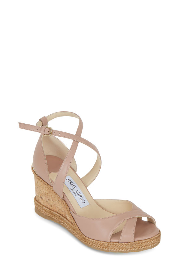 Jimmy Choo Alanah Ballet Pink Leather Wedge Sandal, 80mm