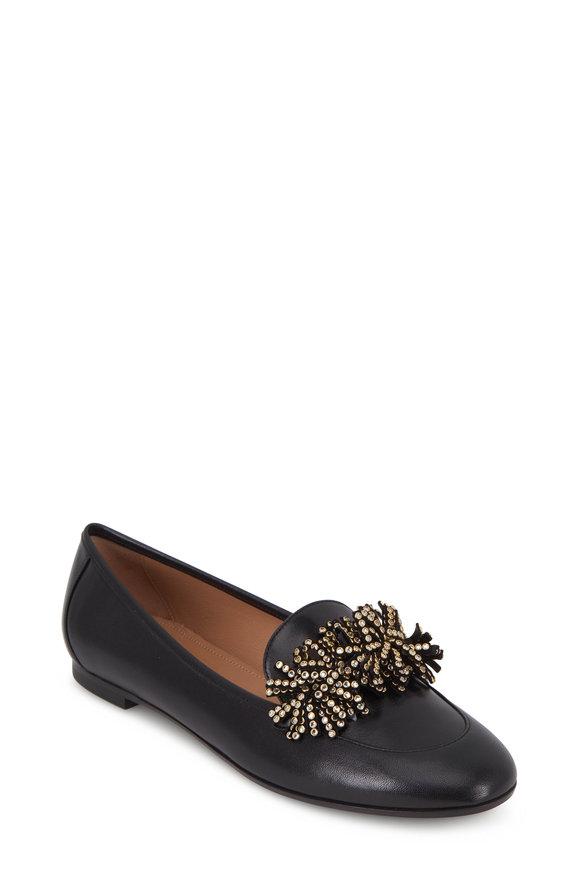 Aquazzura Wild Crystal Black Leather Loafer